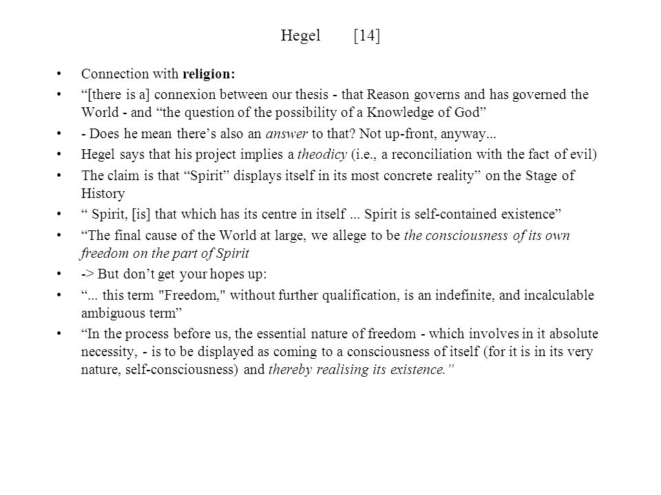 Hegel [14] Connection with religion: